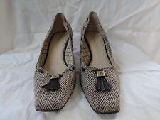 Etienne Aigner tweed pumps leather sole size 9m women brown beige leather fringe