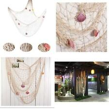 Fishing Net Deco, Mediterranean Style Decorative Fishing with Colored Shells, N