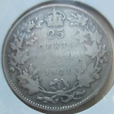 1921 Canada Silver Twenty-Five Cents Coin. BETTER GRADE KEY DATE (Q944)