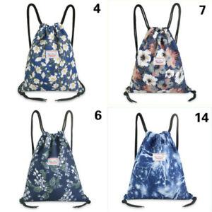 Ladies Floral Drawstring Backpack Storage Bag Leaf Large Capacity Yoga Swim Bags