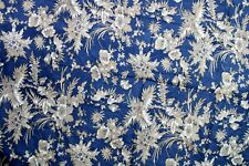 Indian Pure Cotton Fabric By The Yard Blue & White Color Floral Printed Fabric