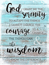 Rustic Serenity Prayer Metal Sign, Christian, Inspirational, Prayer