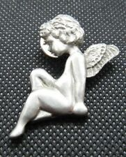 """Angel Cherub Pin Silver Tone Pewter Made in CANADA 1-5/8"""" X 1-1/4"""" Signed"""