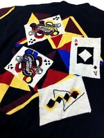 GIANNI VERSACE VINTAGE '90 PLAYING CARD SWEATER MEN KNIT CASINO POKER ACE ITALY