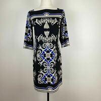 Jane Lamerton Womens Black Blue Boat Neck Baroque Stretch Dress Size 10 A10
