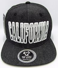 CALIFORNIA REPUBLIC Snapback Cap Hat CA Embroidered Black 100% Denim Cotton NWT
