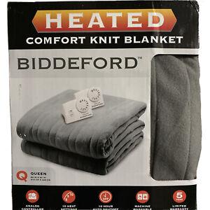 "Biddeford Heated Blanket Queen 84""x90"" Comfort-Knit 10 Heat Settings New in Box"