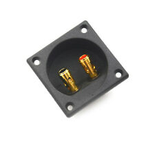Square Shape Double Binding Post Type Speaker Box Gold Terminal Cup Black JR