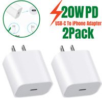 2Pack 20W PD USB-C To iPhone Fast Wall Charger Power Adapter For Apple 12 11 Pro
