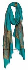 EXQUISITE WOOL KASHMIR JAMAWAR PASHMINA CASHMERE SHAWL WRAP SCARF THROW INDIAN