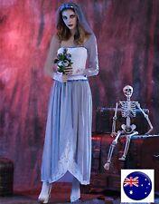 Women Fancy Halloween Skull Vampire Bride Lace Long Dress Costume headband Set