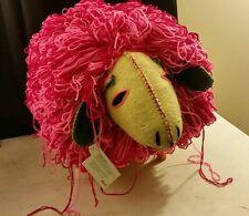 """Twoolies Giant Pink Sheep Huge 30"""" Long Handmade In Maya Natural Wool Twooly"""