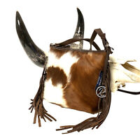 Raviani Fringe Crossbody bag Brown & White Hair on Cowhide Leather MADE IN USA