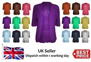 New Plus Size Ladies Crochet Knitted Open front Bolero Shrug cardigan Top 16-28