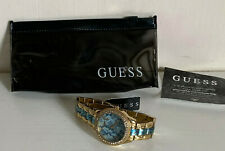 NEW! GUESS SERPENTINE ROUND ANALOG BLUE DIAL GOLD TONE BRACELET WATCH $135 SALE