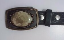 Mens Black Thunderbird Black Leather Belt with Agate Belt Buckle