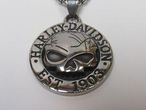 Harley Davidson Men's Steel Skull Biker Necklace Pendant New!