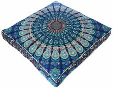 Indian Blue Peacock Mandala Cushion Cover Floor Pillow Case Meditation Pillow 35