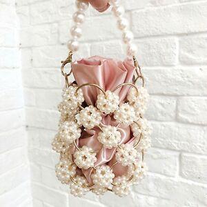 Pearl Evening Bag Embellished Small Beaded Clutch Handbag