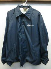 EUC Vtg Sportsmaster Blue Nylon Rockwell Intl Snap Front Jacket USA Made Medium