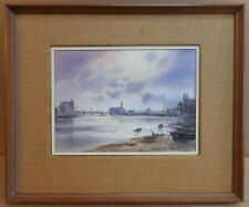 Thames at Chelsea. Original Watercolour by listed artist Ashton Cannell, c1970