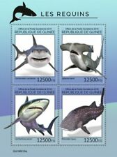 Guinea - 2019 Sharks on Stamps - 4 Stamp Sheet - GU190210a
