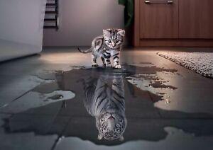 Motivation CAT Tiger MOTIVATION WALL ART COVERING 30x20 Inch Canvas Framed