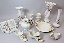 Lot of 11 pieces Lefton China Hand Painted Pink Roses Applied Flowers set