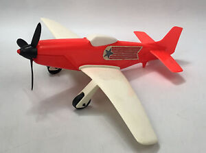 "RARE! Vintage Gay Toys Inc. 13.5"" Plastic White & Red Toy Airplane #951 USA AA"