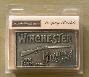 Vintage 70s Winchester Repeating Arms Rifle Gun Brass Belt Buckle Deadstock