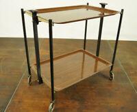 60er Dinett Servierwagen Teewagen Tisch Beistelltisch Bar Nussbaum Chrom 70er 2