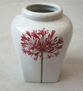 "Modern White Square Based Ceramic Pottery Vase with Pink Flower Design 8"" High"