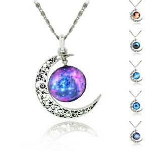 Sterling Silver Necklace Jewellry Moon Glass Galaxy - Choose a Style