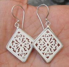 925 Sterling Silver-Bovine Bone Hand Carved Earring Square Balinese Style-Lh80
