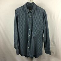 Bills Khakis Mens Long Sleeve Shirt Made in USA Blue & Brown Gingham XL