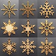 Wooden Christmas Snowflakes Tree Decorations Craft Hanging Bauble Blank Styles