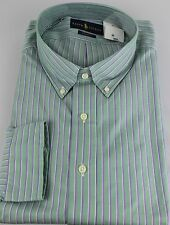 Polo Ralph Lauren Dress Shirt Mens 18.5 38 39 Classic Fit Green Purple White