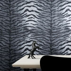 Wallpaper Tiger Line faux animal fur textured modern wall coverings silver black