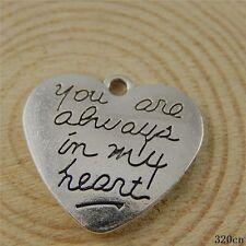 10pcs Vintage Silver Alloy Engraved Heart Shape Pendants Charms Findings 50826