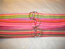 LOT OF 3 TWO RING BELTS COMBINATION  IN  PINK  ONE SIZE 1 1/2 IN 100% ACRYLIC