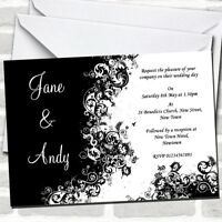Black White Swirls Wedding Invitations
