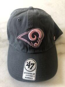 Women's Los Angeles Rams Hat Cap Adjustable '47 Brand Clean Up Nfl