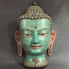 Antique Tibet Handmade bronze Turquoise Inlay statue Sakyamuni Mask