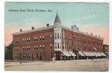 Arlington Hotel Block Rochester Indiana 1915 postcard