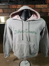 JOHN DEERE Barn Work Farm Trucker Hooded Sweatshirt Womens Size Medium Pink EUC