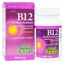 Vitamin B12, Methylcobalamin, 5000 mcg, 60 Chewable Tablets - Natural Factors