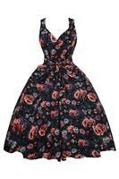 Ladies 1950's Mid Tie Retro Vintage Rockabilly Prom Swing Rose Floral Dress