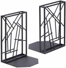 Bookends Black, Book Ends Heavy Duty for Shelves Non-Skid & Anti-Scratching, Art