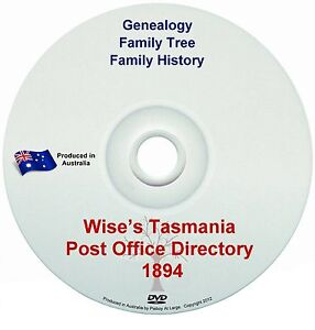 Family History Genealogy Tasmania Post Office Directory Wises 1894 Names Towns
