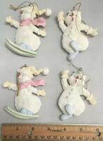 Vintage Hard Ceramic? Snowmen Ornaments Christmas 4 Ornaments Skiing And Dancing